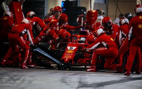 Picture sport, ferrari, formula 1, pit stop, sebastian vettel, reds, 2018bahrain