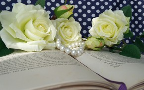 Picture flowers, roses, Book, beads
