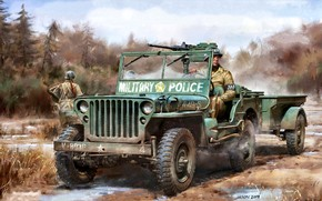 Picture USA, Driver, terrain, Willys MB, Browning M2, Military police, army vehicle