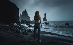Picture girl, rocks, shore, Iceland, black sand, All Is Violent, Camille Marotte, All Is Bright