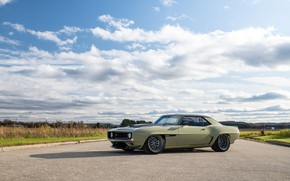 Picture Clouds, Road, Chevrolet, 1969, Camaro, Chevrolet Camaro, Muscle car, Classic car, Wide Body Kit, Sports …