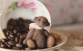 Picture childhood, background, toy, coffee, bear, bear, Cup, bear, sitting, brown, plush, bow, items, Teddy, coffee …
