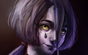 Picture girl, yellow eyes, drop