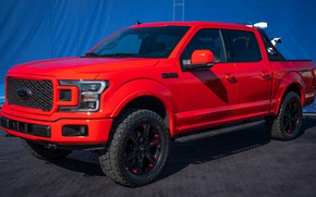 Picture car, machine, tuning, Ford, ATV, side, red car, wheel, peak, SuperCrew, Ford F-150, Ford F-150 …