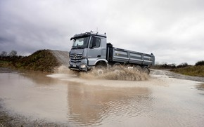 Picture squirt, grey, Mercedes-Benz, puddle, 2013, dump truck, Arocs, four-axle