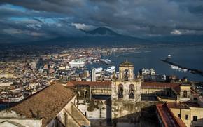 Picture Italy, panorama, Naples, Vesuvius