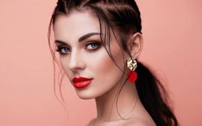 Picture look, girl, face, portrait, earrings, makeup, lips, beauty, Oleg Gekman