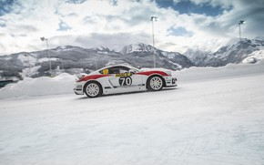 Picture machine, snow, mountains, sports car, rally, Porsche Cayman GT4 rally