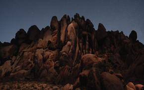 Picture the sky, stars, night, rock, stones, desert, mountain