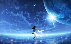 Picture the sky, water, rain, planet, fantasy, girl, sparklers