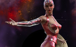 Picture girl, space, cyborg