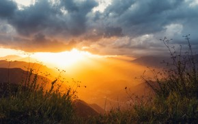Picture Clouds, Sky, Grass, Green, Sunset, Evening, Mountains