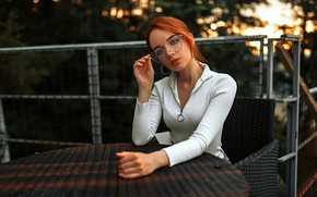 Picture look, pose, model, portrait, makeup, glasses, hairstyle, blouse, beauty, sitting, redhead, bokeh, at the table