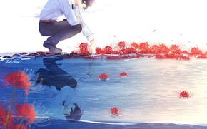 Picture flowers, nature, anime, art, guy, lluluchwan