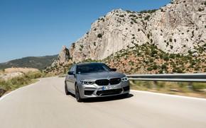 Picture the sky, grey, rocks, vegetation, BMW, sedan, 4x4, 2018, four-door, M5, V8, F90, M5 Competition