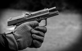 Picture metal, gun, gloves