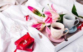 Picture flowers, gift, coffee in bed