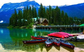 Picture forest, trees, mountains, bridge, nature, lake, people, home, boats, pier, USA, Yoho National Park, Emerald ...