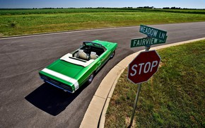 Picture Car, Green, Road, Convertible, Road sign