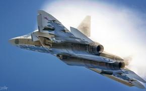 Picture T-50, PAK FA, The Effect Of Prandtl — Glauert, MAX, Videoconferencing Russia, Su-57, HESJA Air-Art …
