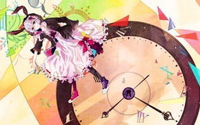 Picture arrows, sneakers, round, dial, bows, vocaloid, Vocaloid, number, ruffles, Yuzuki Up, lilac hair, rabbit ears, …