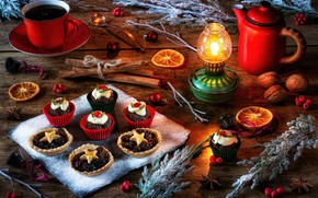 Picture style, tea, lamp, kettle, Christmas, mug, Cup, nuts, still life, cinnamon, cakes, twigs, cupcakes