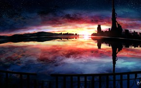 Picture water, sunset, the city, fantasy