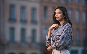 Picture look, girl, decoration, pose, model, the building, shirt, beautiful, bokeh, Andrea