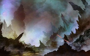 Picture Figure, Star Wars, Sword, Landscape, Art, Lightsaber, Sith, Landscapes, Digital Art, TacoSauceNinja, by TacoSauceNinja, Equinox …