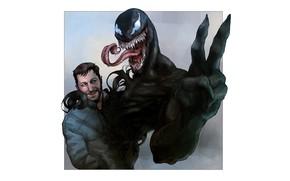 Picture background, minimalism, art, friends, gesture, Venom, Venom, symbiote, Eddie Brock