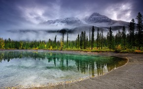 Picture clouds, trees, mountains, fog, lake
