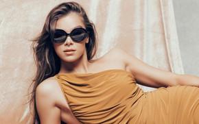 Picture girl, pose, photo, model, dress, glasses, lips, beauty, Hailee Steinfeld