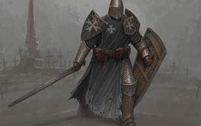 Picture sword, fantasy, soldier, armor, weapon, artist, digital art, artwork, shield, warrior, fantasy art, cloak, armored, …
