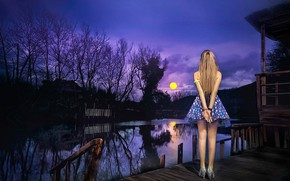 Picture girl, the moon, skirt, legs, Moonlight Viewing