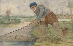 Picture figure, Hendrick Avercamp, Hendrick Avercamp, 1595, The fisherman retrieves the network
