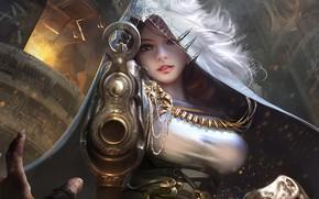 Picture girl, gun, fantasy, weapon, Warrior, digital art, artwork, fantasy art, sight, hood