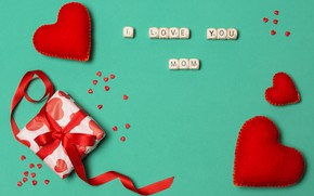 Picture gift, tape, hearts, mom, love, Mom