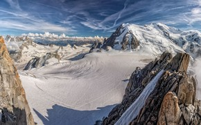 Picture snow, mountains, tops, France, Alps, France, Alps, Blanc, Mont Blanc massif, Горный массив Монблан