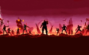 Picture fiction, Superheroes, red background, comic, superheroes, MARVEL, Avengers: Infinity War, The Avengers: infinity War