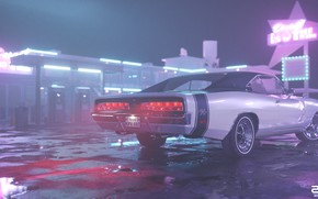 Picture Night, Machine, Style, 1969, Car, Render, Neon, Dodge Charger, Rendering, Puddles, Motel, Motel, Retrowave, Synthwave, …