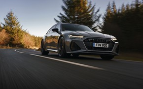 Picture road, Audi, speed, universal, RS 6, 2020, 2019, V8 Twin-Turbo, RS6 Avant, UK-version
