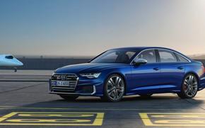 Picture blue, Audi, sedan, the airfield, Audi A6, 2019, Audi S6