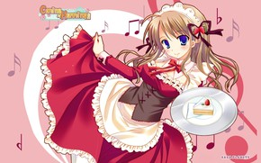 Picture Ruski, strawberry, corset, bows, pink background, the maid, a piece of cake, bezel, visual novel, …