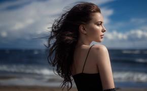 Picture girl, sky, long hair, sea, photo, photographer, model, bokeh, lips, face, brunette, portrait, mouth, wavy …