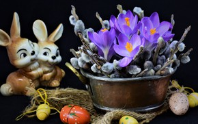 Picture flowers, branches, holiday, eggs, Easter, crocuses, fabric, rabbits, burlap, Verba, figure, eggs, Taz