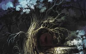 Wallpaper Tree, Figure, Forest, Silhouette, Darkness, Art, Roman Avseenko, by Roman Avseenko, a little dark