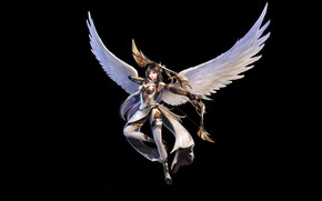 Picture Girl, Fantasy, Beautiful, Art, Asian, Angel, Minimalism, Wings, Armor, Eron Kim, With - Archer
