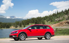 Picture the sky, red, Volkswagen, pond, universal, 2017, Golf Alltrack