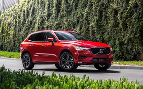 Picture road, car, machine, Volvo, red, side, red car, wheel, crossover, red car, XC60, hedge, Volvo …