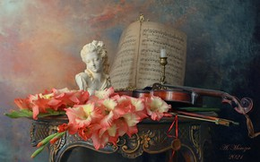 Picture flowers, style, notes, background, violin, figurine, still life, candle holder, gladiolus, Andrey Morozov